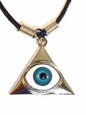 NEW Silver Blue Pyramid Eye Triangle Illuminati Pendant Necklace with Black Cord