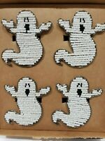 Cynthia Rowley Curious Halloween Beaded Spooky Ghost Napkin Rings Set Of 4 New