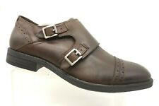 Kenneth Cole Brown Leather Cap Toe Double Buckle Monk Strap Shoes Men's 12 M