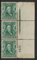 Scott 300- MH strip of 3 w/ Plate Number and imprint- 1c Franklin- unused mint