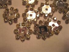 12  Sterling plate circle drops using Swarovski 19ss Jonquil Rhinestones.