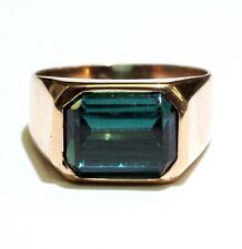 14k rose gold mens green tourmaline gemstone ring 6.3g gents