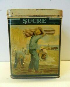 Vintage French Kitchen Food Storage Tin Sucre Sugar