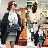 New Women's Oversized Batwing Sleeve Knitted Loose Sweater Cardigan Outwear Coat