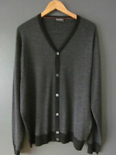 BNWOTS SS17 JOHN SMEDLEY CARDIGAN XXL-2XL MERIO WOOL GREY STRIPED BUTTON JUMPER