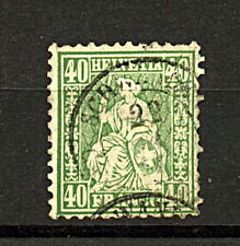 Switzerland 1862 40c Green Sitting Helvetia sg58 cv£85 FU Stamp
