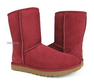 UGG Classic Short II Redwood Suede Fur Boots Womens Size 8
