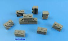 LEGO 1x2 Riffel pierres /gris foncé/ 10-pc
