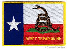 TEXAS GADSDEN STATE FLAG PATCH EMBROIDERED IRON-ON LONE STAR - DON'T TREAD ON ME