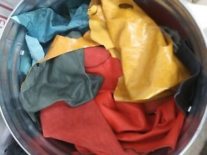 Scraps of Lamb, Cow, Goat, Suede ....  Mixed Colors leather skin.
