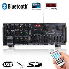 2000W Bluetooth Stereo Amplifier HIFI 2CH Tuner Remote Control USB SD Mic Input