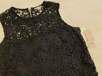 NWT $98 NANETTE LEPORE Women Black Top Blouse Sleeveless Lace Design  sz S M L