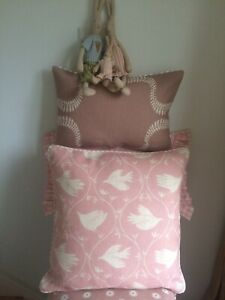 """VANESSA ARBUTHNOTT """"BRANCHING OUT"""" PIPED CUSHION COVER  LILY PINK 17""""x17"""""""