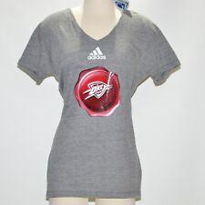 NBA Oklahoma City Thunder Women's Adidas V Neck T Shirt Dark Gray XL