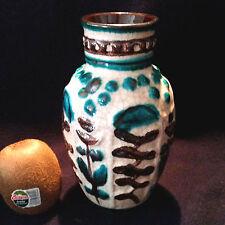 Fantastische Vase mit Reliefdekor und Craquelé Glasur Bay Keramik 60er 98/17