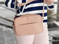 Genuine Leather Women's Crossbody Bag Pink Blush Rose Gold Hardware Super Cute