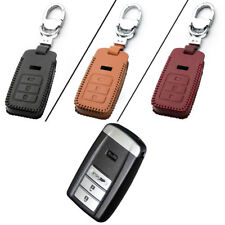 New Leather 3 Button Remote Key Bag Case Fob Holder Chain For Acura Series