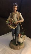 Vintage Homco Home Interiors Young Man Porcelain Figurine #1401 Country Farmer