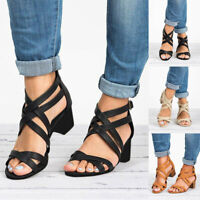 Women's Ladies Low Wedge Sandals Hollow Out Ankle Strap Roman Shoes Size 5-9