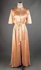 VTG Women's 40s Satin Peach / Pink Long House Dress / Robe Sz M #2587 1940s