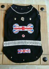 Designer size large /small dog /black /bling union jack with skulls & studs vest