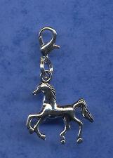 "BEAUTIFUL ""RUNNING HORSE"" CLIP ON DANGLE CHARM TIBETAN SILVER CLIP ON CHARM"