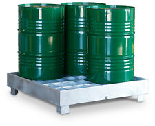 4 Drum Galvanised Containment Pallet - Heavy Duty - Sump Pallet