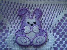 NEW 10 pk EMBROIDERY IRON ON RED OR PURPLE CHECK BUNNY RABBIT MOTIF PATCH EASTER