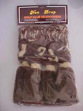 NEW Old School Non Drop Golf Headcover Brown/Beige 4 pack (1,3,5,X) (B763)