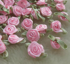 100pcs Pink Ribbon Flowers Bows Rose Appliques Wedding Decoration-A428