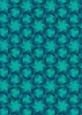 Fabric #1879 Teal Geometric, Tiny Cubes & Stars Fabric Freedom, Sold by 1/2 Yard
