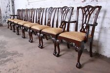 Drexel Heritage Chippendale Carved Mahogany Dining Chairs, Set of Eight