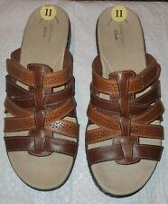 Brand New Clarks Leisa Field Brown Strappy Leather Slide Sandals Sz 11m