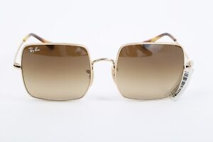 RAY-BAN RB1971 Gold Metal Square Frame Brown Gradient Lens Sunglasses