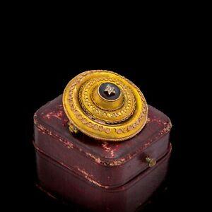 Antique Vintage Nouveau 18k Gold Memento Mori Diamond Bohemian Garnet Pin Brooch
