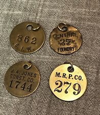 Lot Of 4 Vintage Brass Token Tag CHECK Employee Foundry, Construction, Other