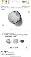 August Smart Door Lock - Silver - Homekit  - iPhone Android - 2nd Gen