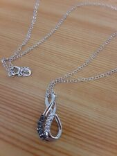 925 Sterling Silver Black & White Diamond Double Infinity Pendant Necklace new!