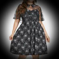 New Black Gothic Cobweb Print Strappy Dress Removable Lace Cape size 3XL 20 22