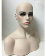 NEW Realistic Female Fiberglass Mannequin Head Bust Wig,Jewelry/Hat Display 04