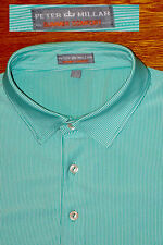 PETER MILLAR POLO GOLF SPRING GREEN STRIPE PERFORMANCE MESH SUMMER COMFORT EC! L