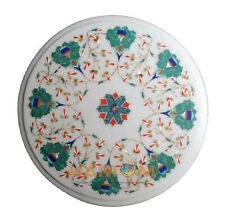 12'' Round White Marble Coffee Table Top Mosaic Malachite Floral Inlay Arts W264