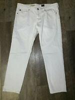 AG Adriano Goldschmied The Stilt Crop Cigarette White Denim Jeans Size 30