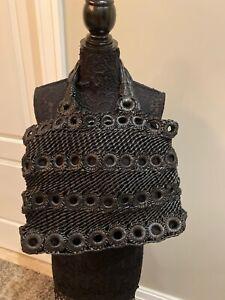 Black Leather Macramae Bag Tote