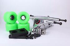65mm 78a Neon Green Longboard Wheels and Silver Reverse Kingpin Truck Combo Set