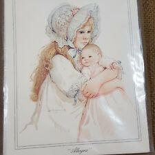 Vtg Allegra Note Cards Set 10ct Girl Baby Doll Jan Hagara Art Victorian Child