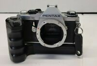 Vintage PENTAX ME SUPER Camera Body + Winder Shutter Fires Silver Black Photo