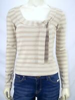 Just In Time Gold Beige Metallic Striped Long Sleeve Top Womens Size Large 12 14