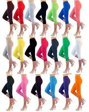 Damen Capri 3/4 Leggings Leggins Baumwolle Hose Wäsche hoher Bund