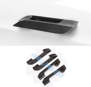 4PCS Real Carbon Fiber Outer Door Handle Cover Trim For Tesla Model S 2014-2019